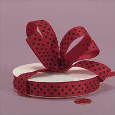 5/8 Red Grosgrain with Green Polka Dots : click to enlarge